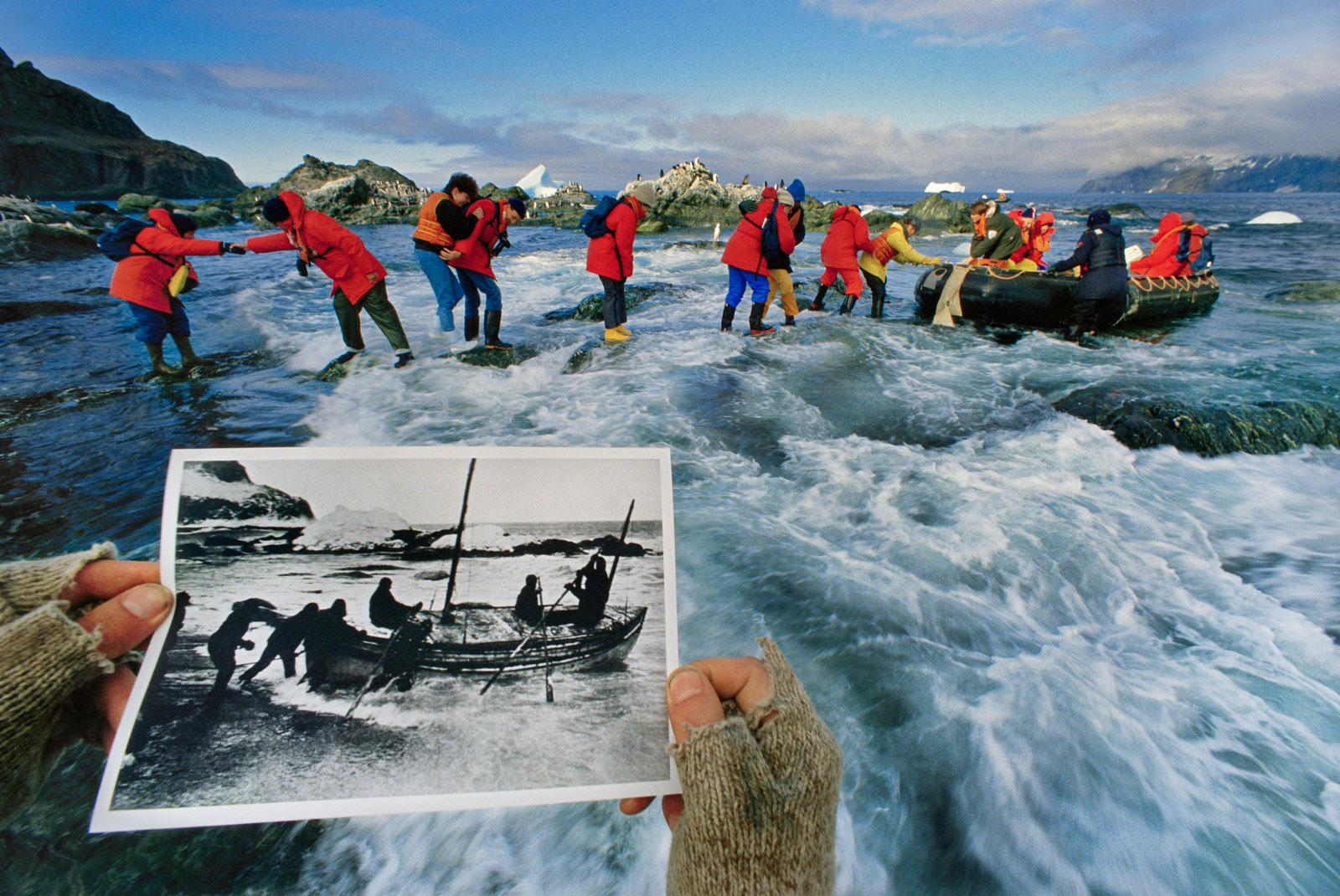 Tourists explore beach from which Ernest Shackleton left for South Georgia, Elephant Island, Antarctica