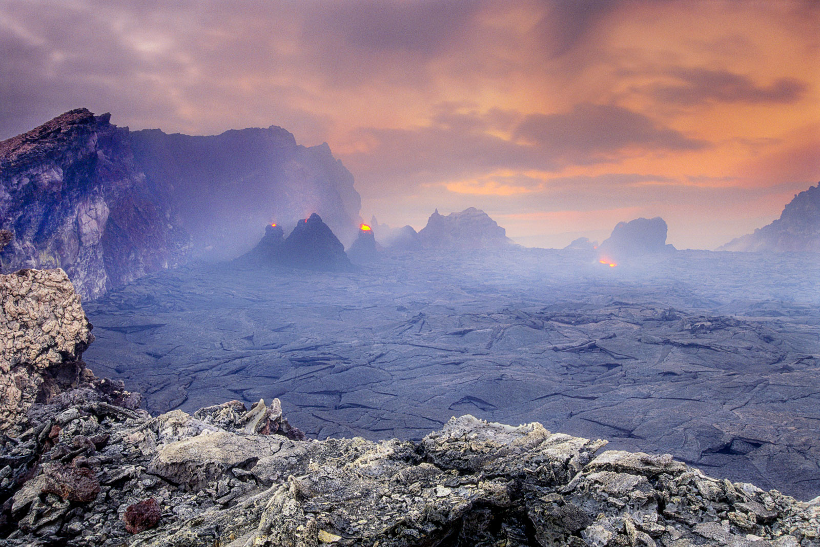 Volcano at dawn, Hawaii Volcanoes National Park, Hawaii, USA